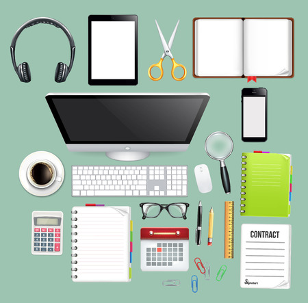 Workspace Top View Vector