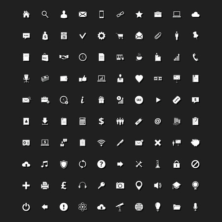 Set of 100 Stylish Universal Icons for Web and Mobile Vector