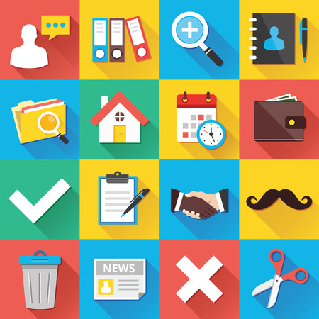 Modern Flat Icons for Web and Mobile Applications Set 12 Vector