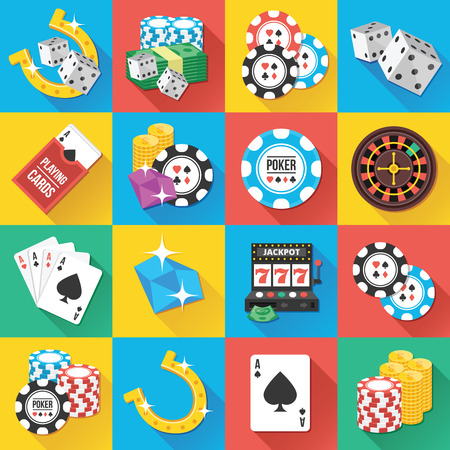 gambling chip: Modern Flat Icons for Web and Mobile Applications Set 7