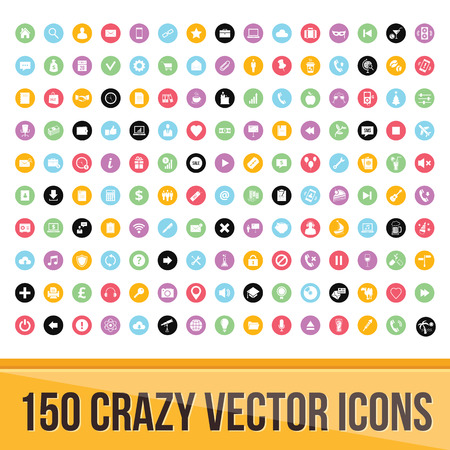 Set of 150 Colorful Icons for Mobile and Web
