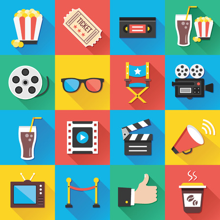 cinta de pelicula: Modernos iconos planos para aplicaciones Web y móviles Serie 5