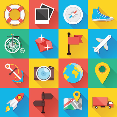 tour guide: Modern Flat Icons for Web and Mobile Applications Set 8 Illustration