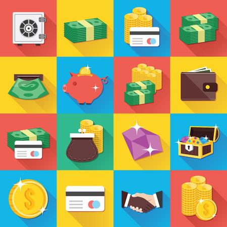 stack of cash: Modernos iconos planos para aplicaciones Web y m�viles Set 9