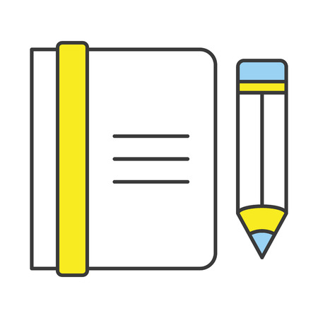 Vector Flat Line Design Concept Notebook and Pencil Icon