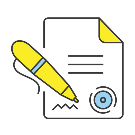 autographing: Vector Flat Line Design Concept Signing Document Icon