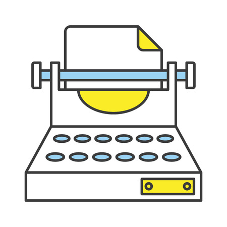 classic authors: Vector Flat Line Design Concept Typewriter Icon Illustration