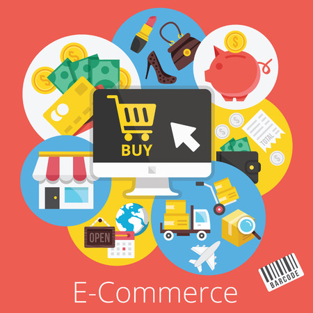 electronic commerce: Vector Set of Flat Design Icons Illustrations for Ecommerce