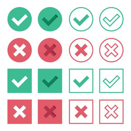 garrapata: Vector Conjunto de Piso Diseño Compruebe Marks Icons Vectores