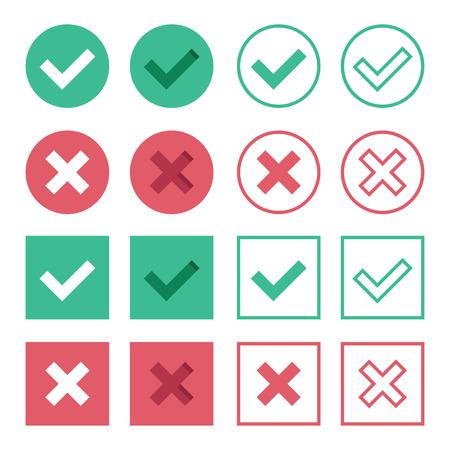 Vector Set of Flat Design Check Marks Icons Illustration