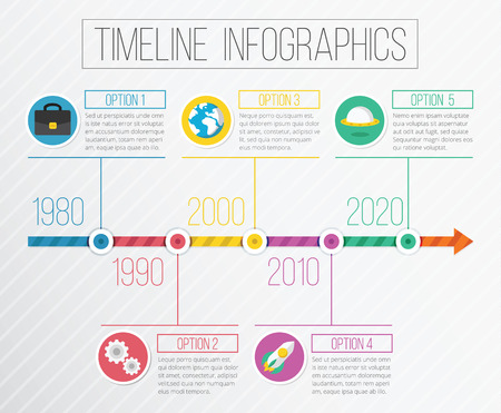 computer network diagram: Vector Flat Timeline Infographics Illustration