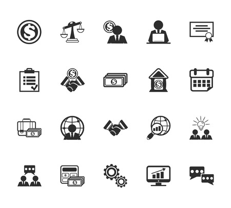 dollar sign icon: Vector Business Management Icons Set