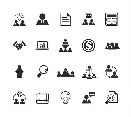 training computer: Vector Team Management Icon Illustration
