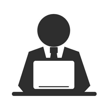 man using computer: Vector Pictogram Businessman Working on Computer