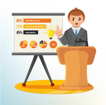 office presentation: Businessman Making a Presentation  Vector Illustration