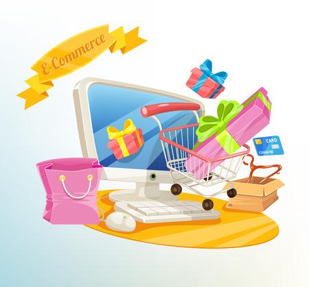e commerce: Vector E Commerce Shopping Illustration