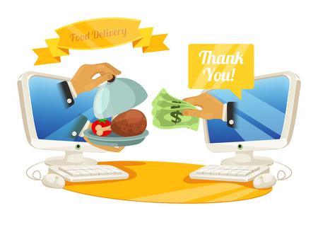 24h: Vector Food Delivery Illustration  Illustration