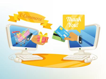 e shopping: Vector Shopping E Commerce Illustration