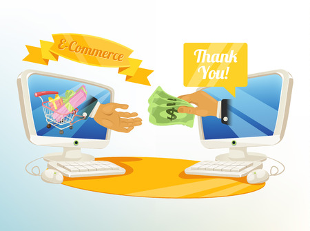 e money: Vector Shopping E Commerce Illustration