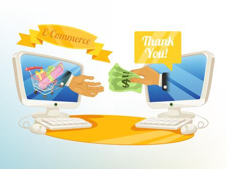 e commerce: Vector Shopping E Commerce Illustration