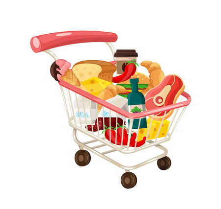 troley: Vector Trolley Full of Delicious Food