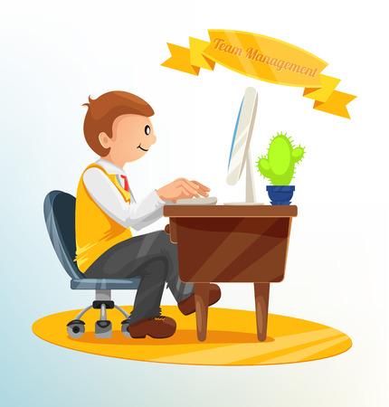 Businessman Drink Coffee Vector Illustration Vector