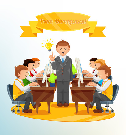 training computer: Vector Team Management Illustration