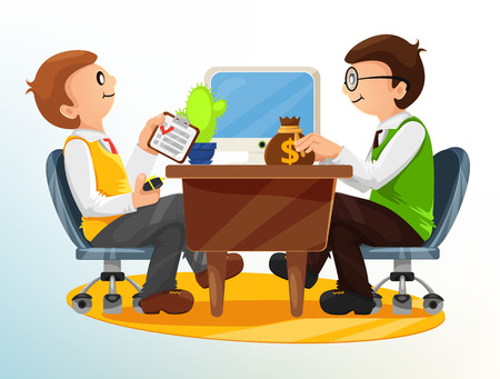 two people meeting: Vector Business Deal Illustration