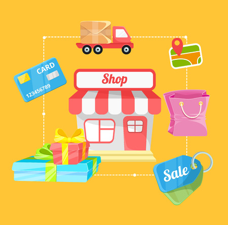 e store: Vector Online Shopping and E-Commerce Concept Illustration