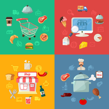 shipping order: Vector Food Delivery Flat Icon Illustration  Illustration