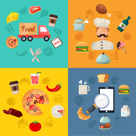 food industry: Vector Fast Food Pizza Delivery Icon Illustration