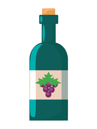 Vector Flat Bottle of Wine Icon  Vector