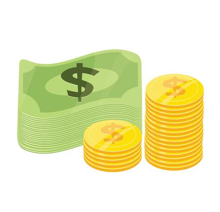 pile of cash: Vector Money Flat Icon
