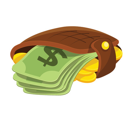 e wallet: Vector Wallet and Money Flat Icon