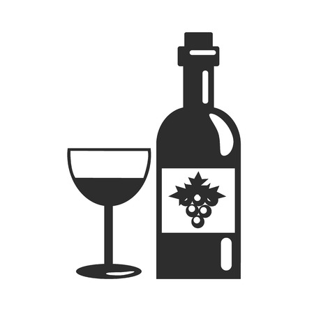 Black Bottle of Wine Icon  Vector