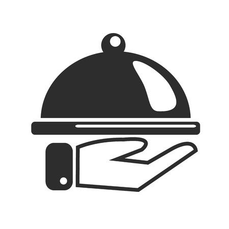 waiter tray: Restaurant Black Icon Illustration