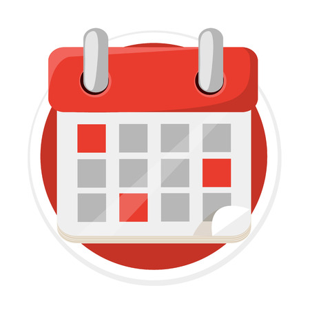 dui: Calendar Flat Round Icon Illustration