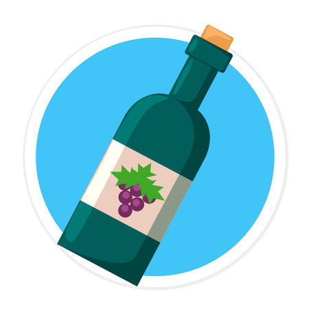 Flat Bottle of Wine Round Icon Vector