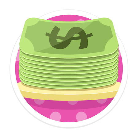 proceeds: Money Flat Round Icon Illustration
