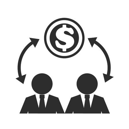 est: Business Man and Money Black Icon  Illustration