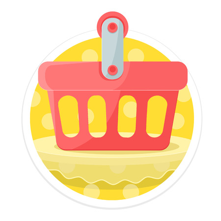 e commerce icon: Shopping Cart Flat Round Icon Illustration