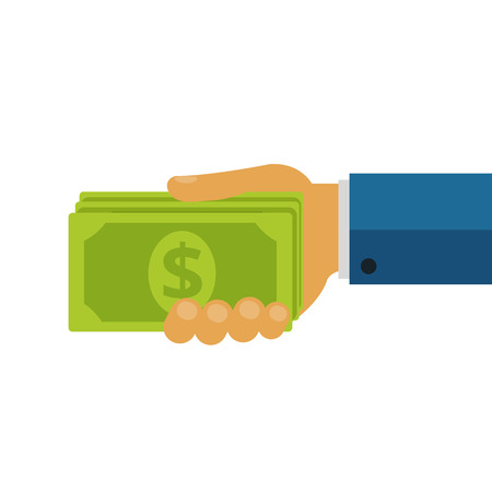 giving money: Businessman Giving Money Cash Dollars Flat Icon  Illustration