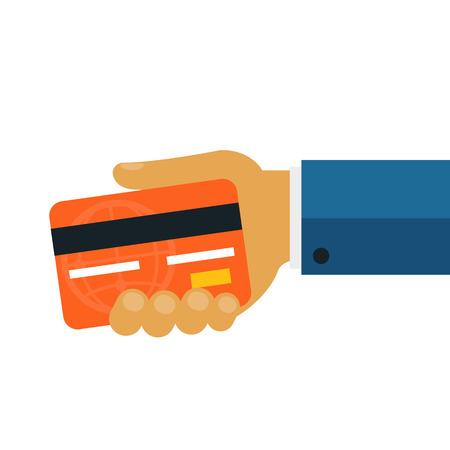 holding credit card: Businessman Giving Money Credit Card Flat Icon Illustration