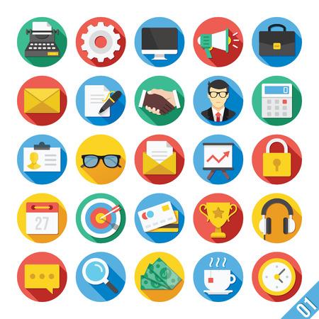 trabajo social: Moderno Vector Piso Icons Set 1
