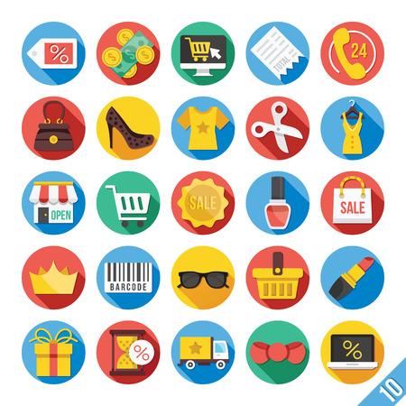 retail: Modern Vector Flat Icons Set 10 Illustration