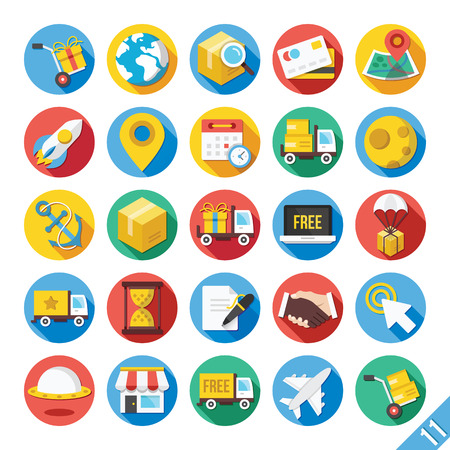 e commerce icon: Modern Vector Flat Icons Set 11 Illustration