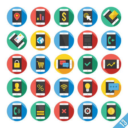 Modern Vector Flat Icons Set 13