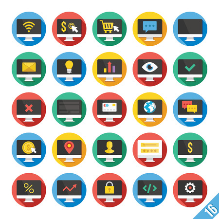 cart icon: Modern Vector Flat Icons Set 16