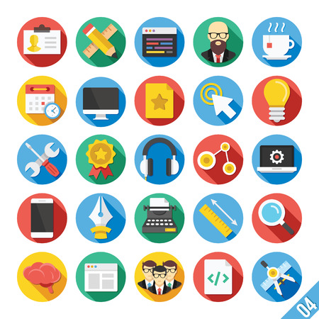 computer programmer: Modern Vector Flat Icons Set 4 Illustration
