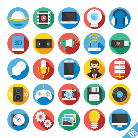 Modern Vector Flat Icons Set 6 Vector